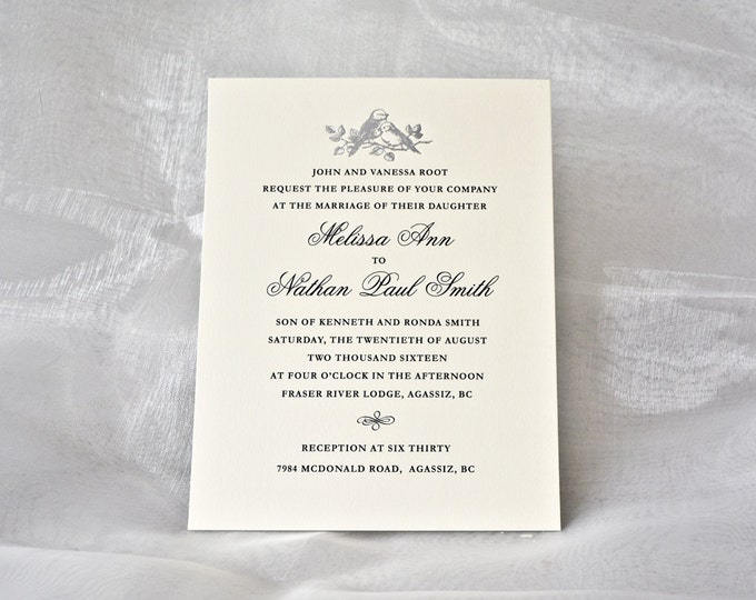 Silver Wedding Invitation Silver LOVE BIRDS Letterpress Wedding Card Silver Foil Invite. Sample.