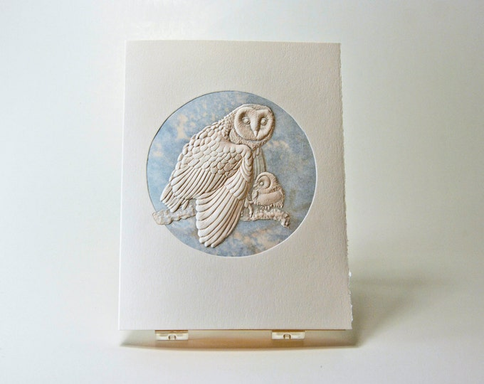 Barn Owl Card.Mom and baby card. Wildlife note card.Set of 6 cards or Single card. Blank inside.
