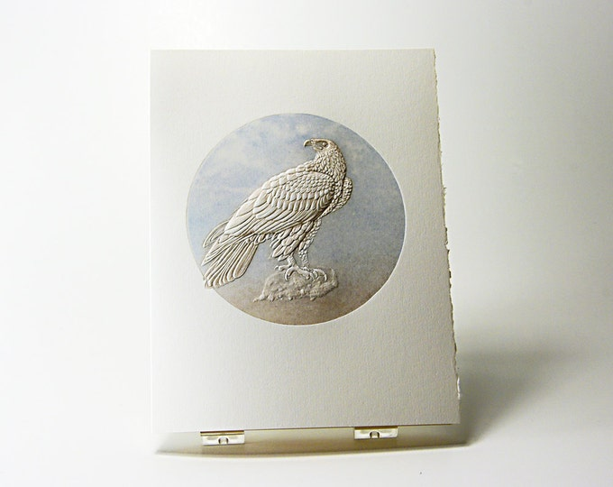 Eagle Bird Card. Stationery. Birds Letterpress. Embossed. Single card. Blank inside.