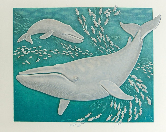 Blue Whales Note Card. Love. Pair. Letterpress. Embossed. Single Card. Blank Inside.