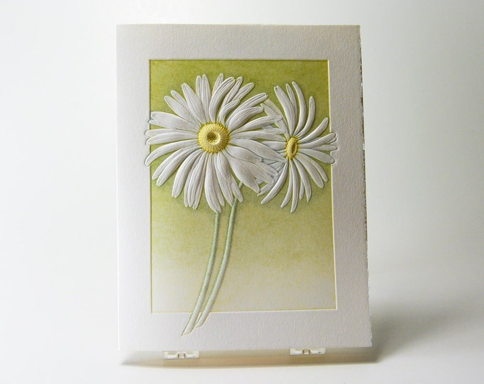 Daisies Card Letterpress. Daisy embossed card. Set of 6 cards or Single card. Blank inside.