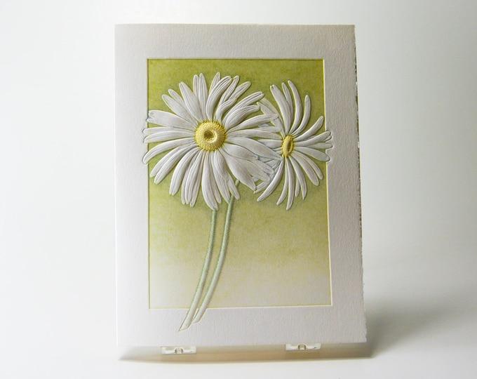 Daisies Letterpress Card Embossed flower card Daisy card Art card Single card. Blank inside.