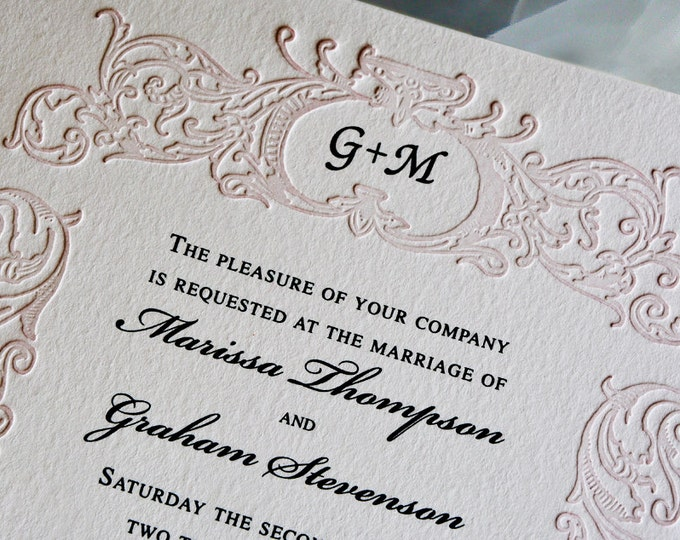 Blush Pink Wedding Invitation Suite Monogrammed Letterpress Wedding Card Vintage Wedding Invite. RETRO BELIEVE SUITE. Border Invite. Sample.