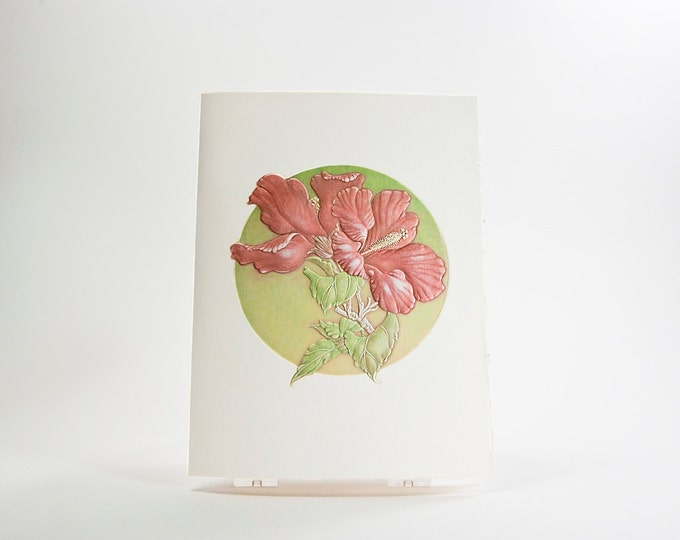 Red Flower Card. Hibiscus Flowers Card. Embossed. Letterpress. Single card. Blank inside.