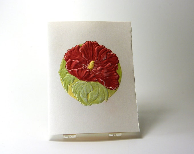Hibiscus Flower Card. Birthday. Love. Mothers Day. Embossed. Letterpress. Single card. Blank inside.