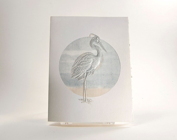 Blue Heron Bird Card. Embossed. Letterpress. Note card. Single card. Blank inside.