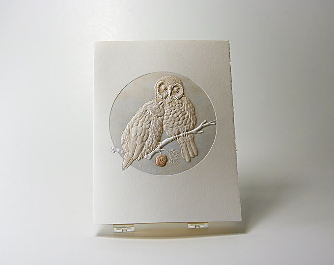 Pygmy Owls Love Card. Owl Notecard. Letterpress. Embossed. Single card. Blank inside.