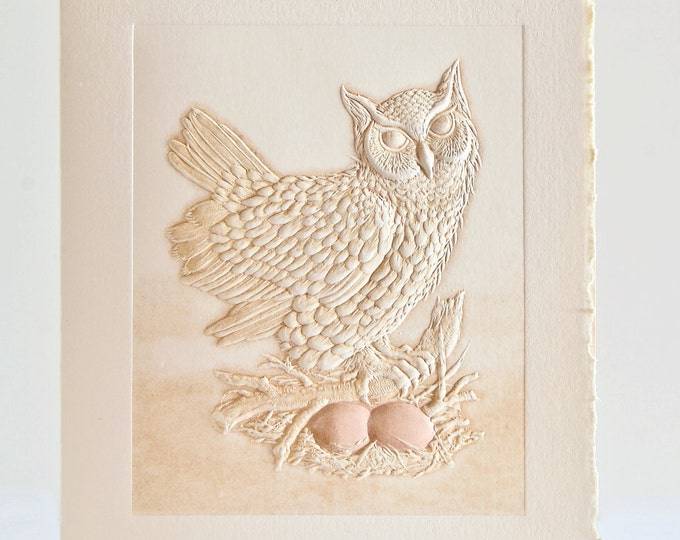 Owl Card Letterpress Birthday Card Embossed. Great Horned Owl. Single note card. Blank inside.