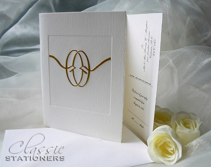 Gold Wedding Invitation. Knot Wedding Card. Gold Foil. Letterpress. Folding card. Sample.
