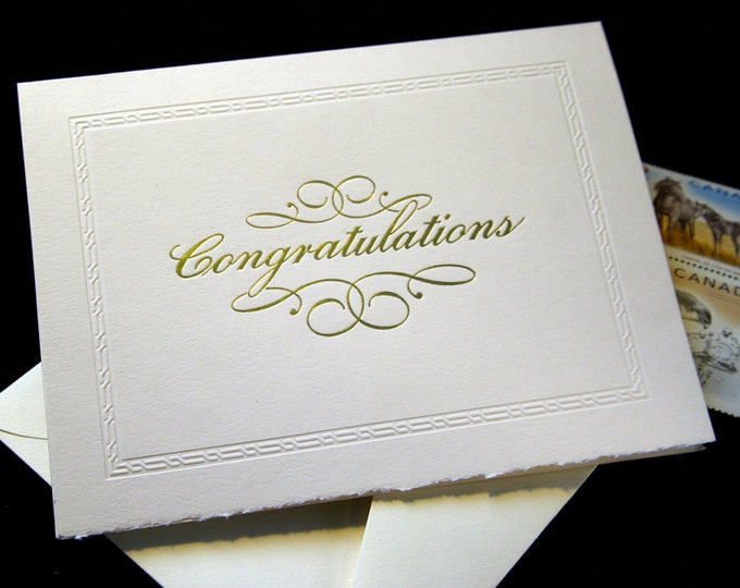 Congratulations Letterpress Card. Gold Foil. Script. Blind border. Single card. Blank inside.