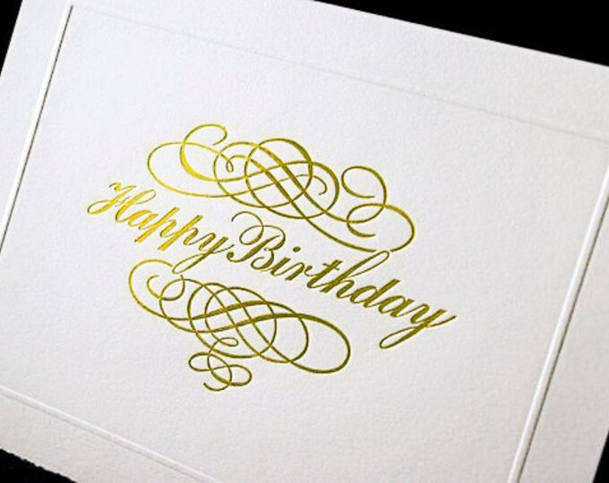 Happy Birthday Calligraphy Card.Letterpress birthday card Gold birthday card Single card. Blank inside.