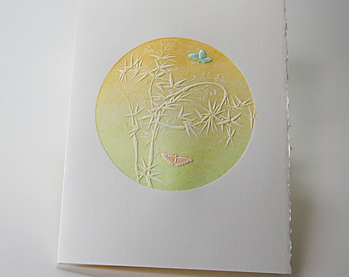 Butterflies Card. Letterpress. Easter. Friends. Love. Embossed. Single Note Card. Blank Inside.