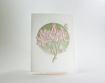 Apple Blossom Card. Embossed floral card. Pink flowers card. Pack of 6 cards or Single card. Blank inside.