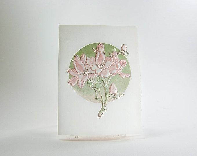 Letterpress Flower Card. Apple Blossom. Embossed card. Single card. Blank inside.