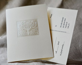 Pearl Wedding Invitations Tree  Wedding Card Foil Stamped. Reply Post Card. Folded Invite. Letterpress.