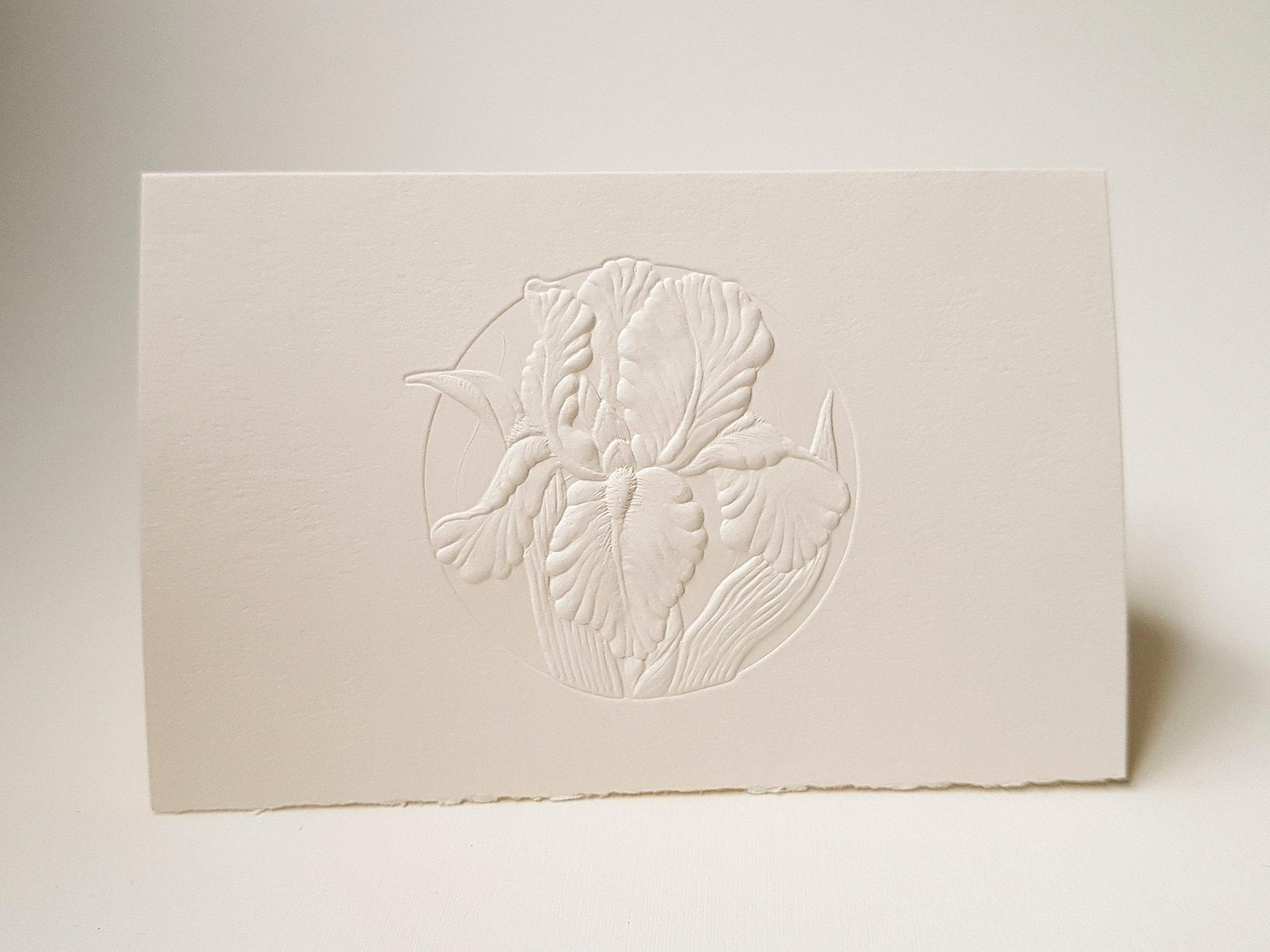 8 Embossed Iris Cards Flower Letterpress Set Floral Card Birthday Blank Inside