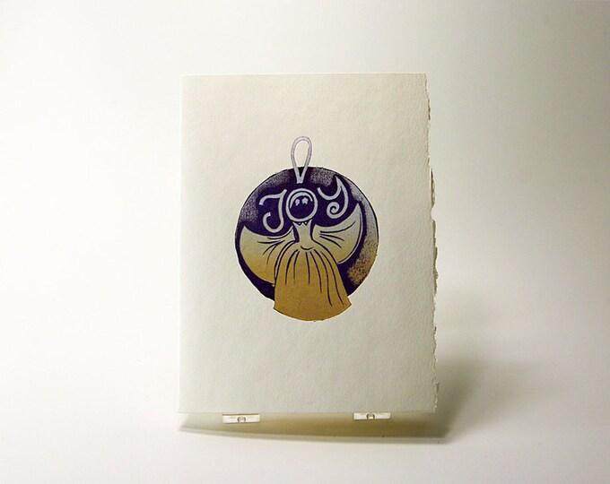 Joy Angel Card. Christmas.card. Holiday card. Art  Christmas card. Blank inside.