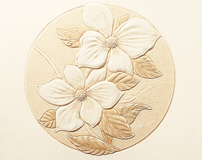 6 Pacific Dogwood Flower Cards. Embossed Floral cards. Botanical note cards. Set of 6 cards. Blank inside.