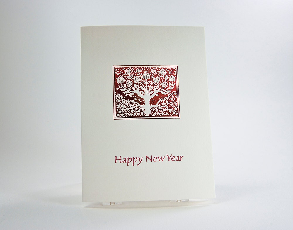 red tree happy new year card holiday card letterpress foil notecard single card blank inside