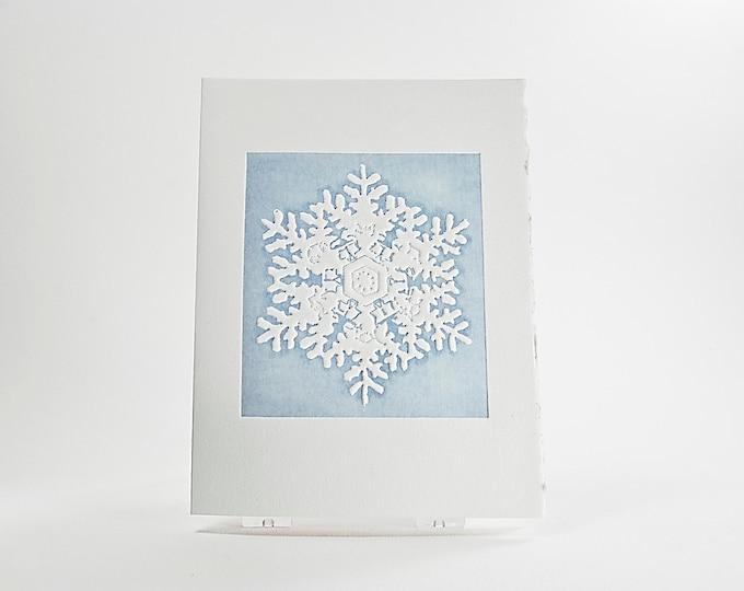 Rainier Snowflake  Card. Christmas card Letterpress. Pack of 6 cards or Single card. Blank or Season's Greetings inside.