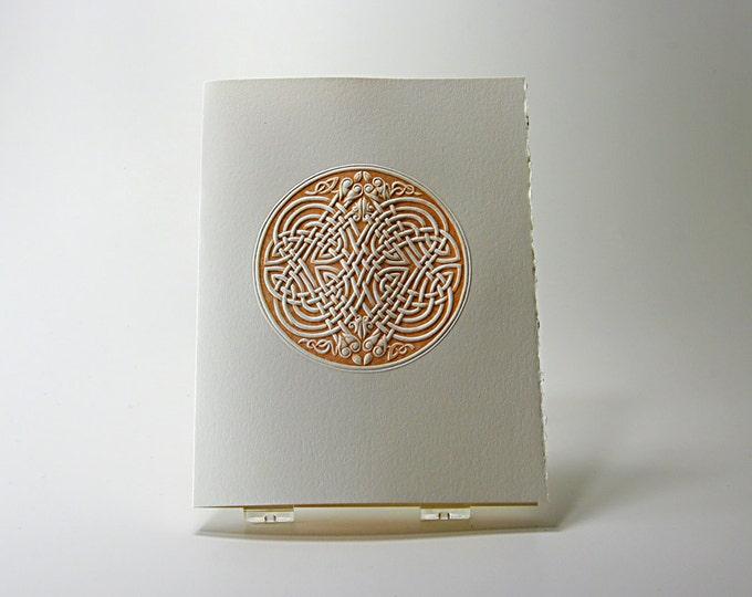 Celtic Eagle Knot Card.Letterpress. Embossed knot.Set of 6 cards or Single Card. Blank Inside.