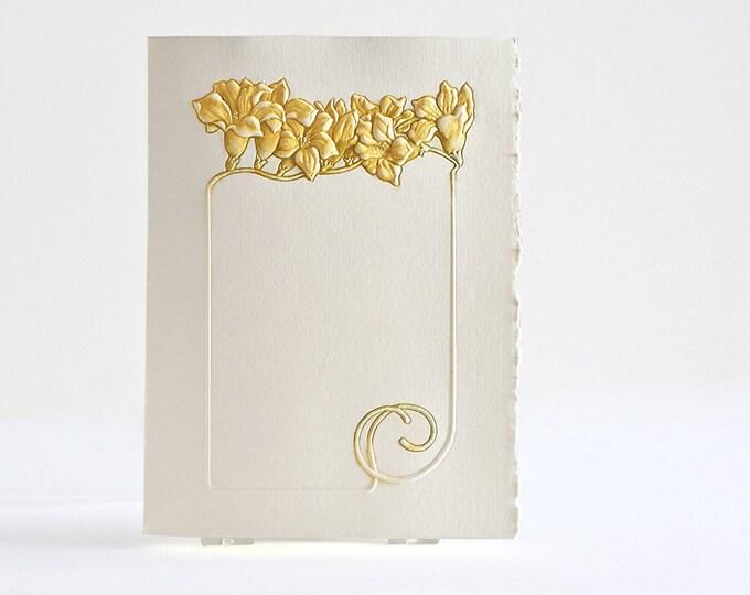 Freesia Flower Card. Yellow Flower Frame. Embossed. Letterpress card. Single card Blank inside.
