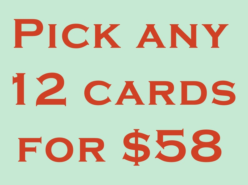 Pick 12 Cards Value Pack. Embossed Card Set Letterpress cards image 0