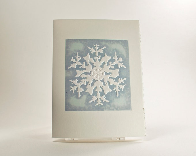 Rocky Mountain Snowflake Card. Holiday card Letterpress.Pack of 6 cards or Single card. Blank or Season's Greetings inside.