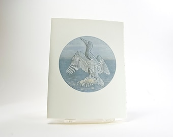 Cormorant Bird Card. Letterpress Bird Notecard. Embossed. Single card. Blank inside.