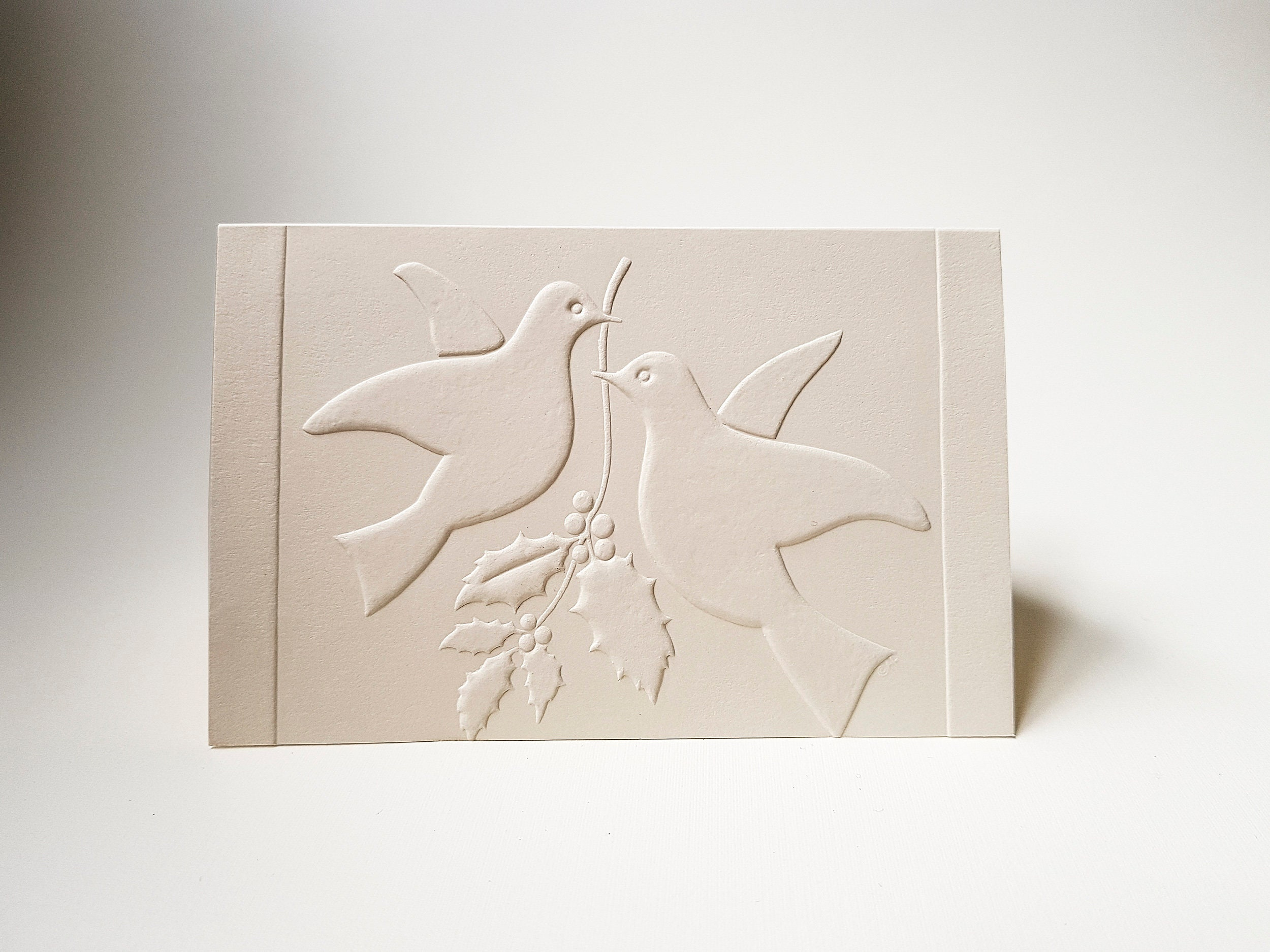 8 Christmas Doves Cards. Embossed card set. White Christmas cards ...