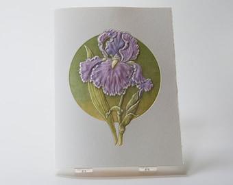 Purple Iris Note Card. 25th Anniversary. Birthday. Love.  Letterpress. Embossed. Single card. Blank inside.