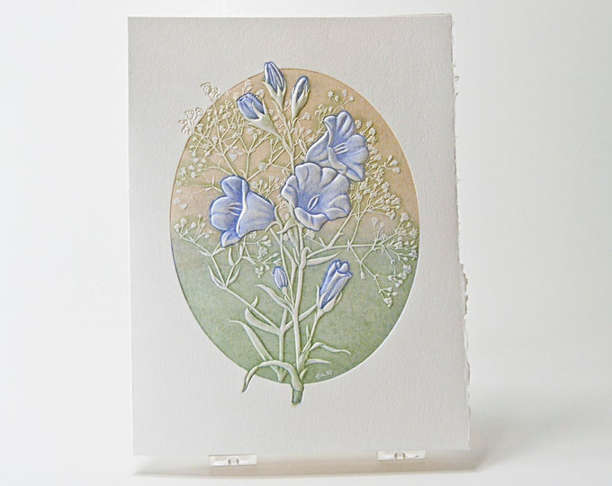 Bell Flower Note Card. Letterpress flower card. Embossed floral card.Single card or Set of 6 cards. Blank inside.
