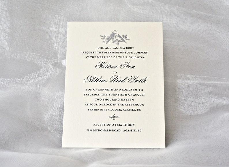 Silver Wedding Invitation Silver Love Birds Letterpress Etsy
