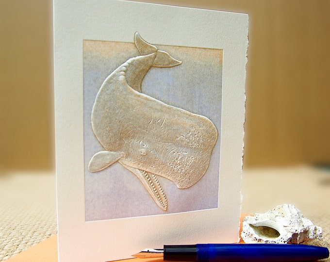 Sperm Whale Card. Whales Card Letterpress. Embossed. Single card. Blank inside.