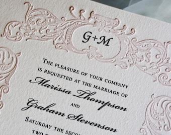 Blush Pink Wedding Invitation Suite Monogrammed Letterpress Wedding Card Vintage Wedding Invite. RETRO BELIEVE SUITE. Border Invite. Sample.