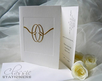 Gold Wedding Invitation. Knot Wedding Card. Gold Foil. Letterpress. Folding card. Sample.