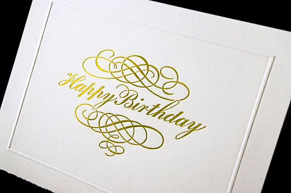 Happy Birthday Card Gold Foil Calligraphy