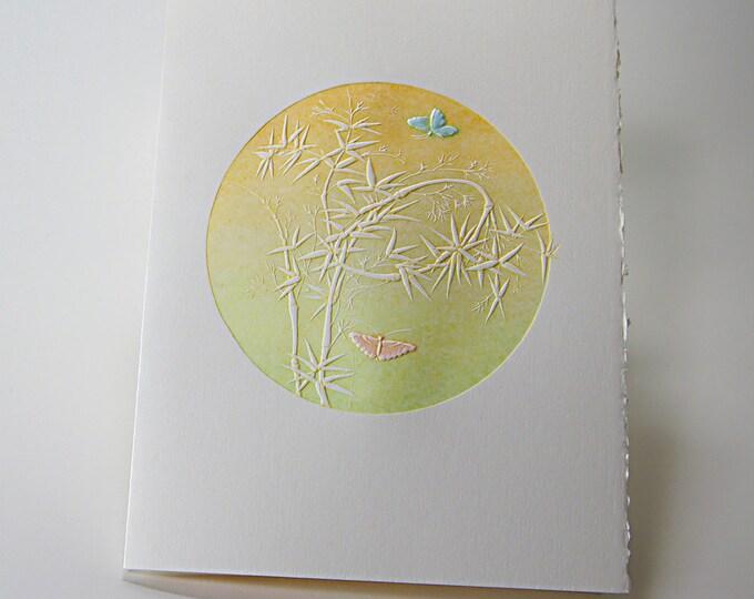 Butterflies Card. Letterpress. Easter. Friends. Love. Embossed. Single Note Card. Blank Inside.