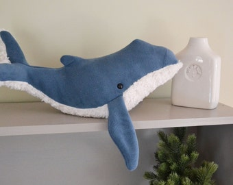 Humpback Whale Deep Blue Premium Fleece Furry Belly Large *Personalization available