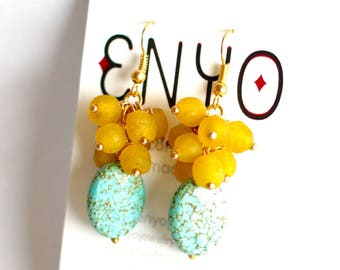 Turquoise Yellow Earrings, Gemstone Earrings, African Earrings, Faceted Magnesite, Cluster Earrings, Ghanaian Beads, Recycled Glass, Ethnic
