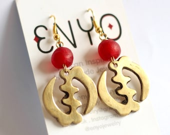 Red Gye Nyame Earrings, Ghanaian Recycled Glass, Adinkra Jewelry, African Jewelry, Adinkra Pendant, Akan Jewelry, Red Ghanaian Earrings