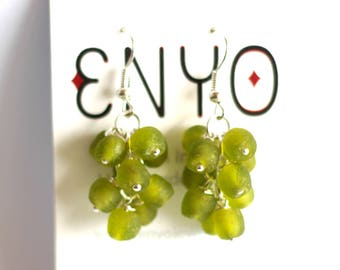 Lime Green Cluster Earrings, Ghana Beads, African Silver Jewelry, Recycled Glass, Ethnic Tribal Jewelry, African Glass Beads