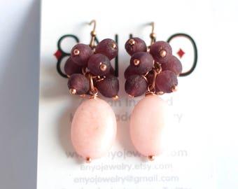 African Earrings, Rose Quartz, Pink Purple, African Jewelry, Cluster Earring, Gemstone Earring, Ghana Recycled Glass, Ethnic Jewelry, Copper