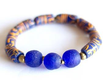 Blue African Bracelet, Orange Krobo Beads, Ghana Recycled Glass, African Jewelry, Ethnic Bracelet, Unisex, Tribal Chic, Navy Blue Bracelet
