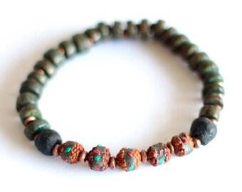 RUDRAKSHA: Green African Bracelet, Prayer Beads, Turquoise Coral Inlay, Mala Beads, Green Palm Tree, Betel Salwag Nut, Beaded Men's Bracelet