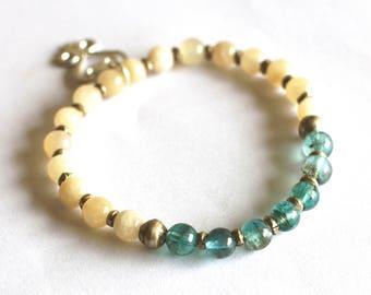 Apatite Bracelet, African Bracelet, Yellow Moonstone, Sankofa, Adinkra Symbol, Aqua Turquoise, Gemstone, Ethiopian Silver, Boho Tribal Chic
