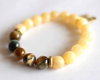 Tigereye Bracelet, Yellow Jade, African Gold, Adinkra Pendant, Boho Yoga, Blue Multicolor Tigereye, Women's Bracelet, African Jewelry