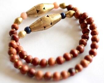 Brown African Bracelet, Tibetan Wood Beads, African Jewelry, Tribal Bracelet, Ghana Gold Brass, Lapis Sunstone Gemstone, Unisex Jewelry