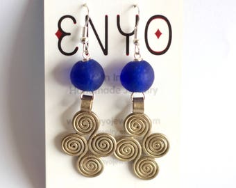 Blue Swirl Earrings, Ethiopian Silver Pendant, Recycled Glass, African Earrings, Coptic Cross, Ghana Beads, Ethnic Jewelry, African Jewelry