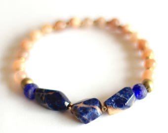 Sunstone Bracelet, African Bracelet, Orange Sodalite, Blue Recycled Glass, Ghana Glass Beads, Ethiopian Brass, Salmon Pink, Ethnic Tribal